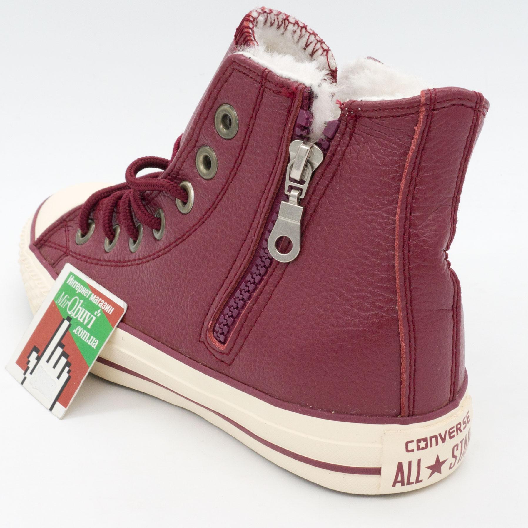 фото back Зимние кеды Converse высокие бордовые - Топ качество! back