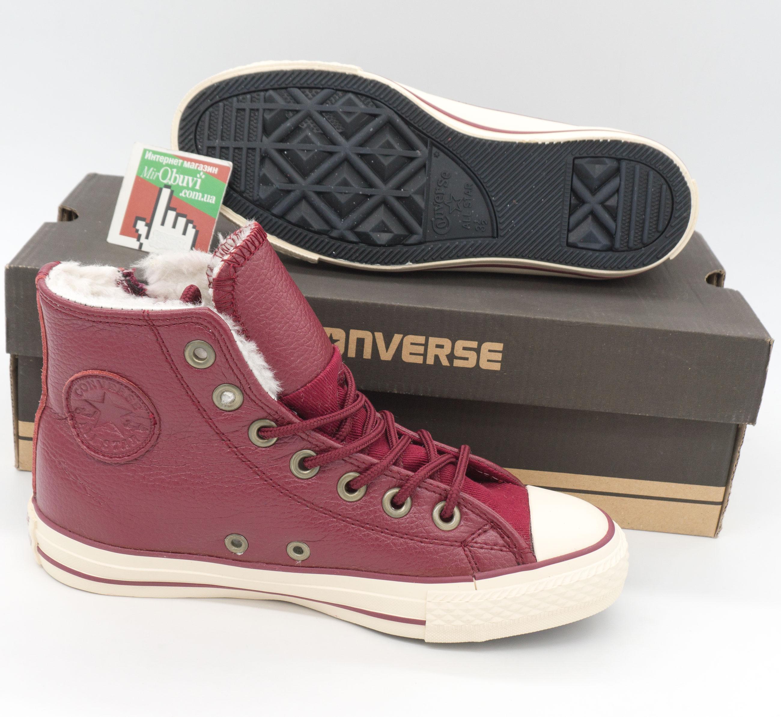 фото bottom Зимние кеды Converse высокие бордовые - Топ качество! bottom