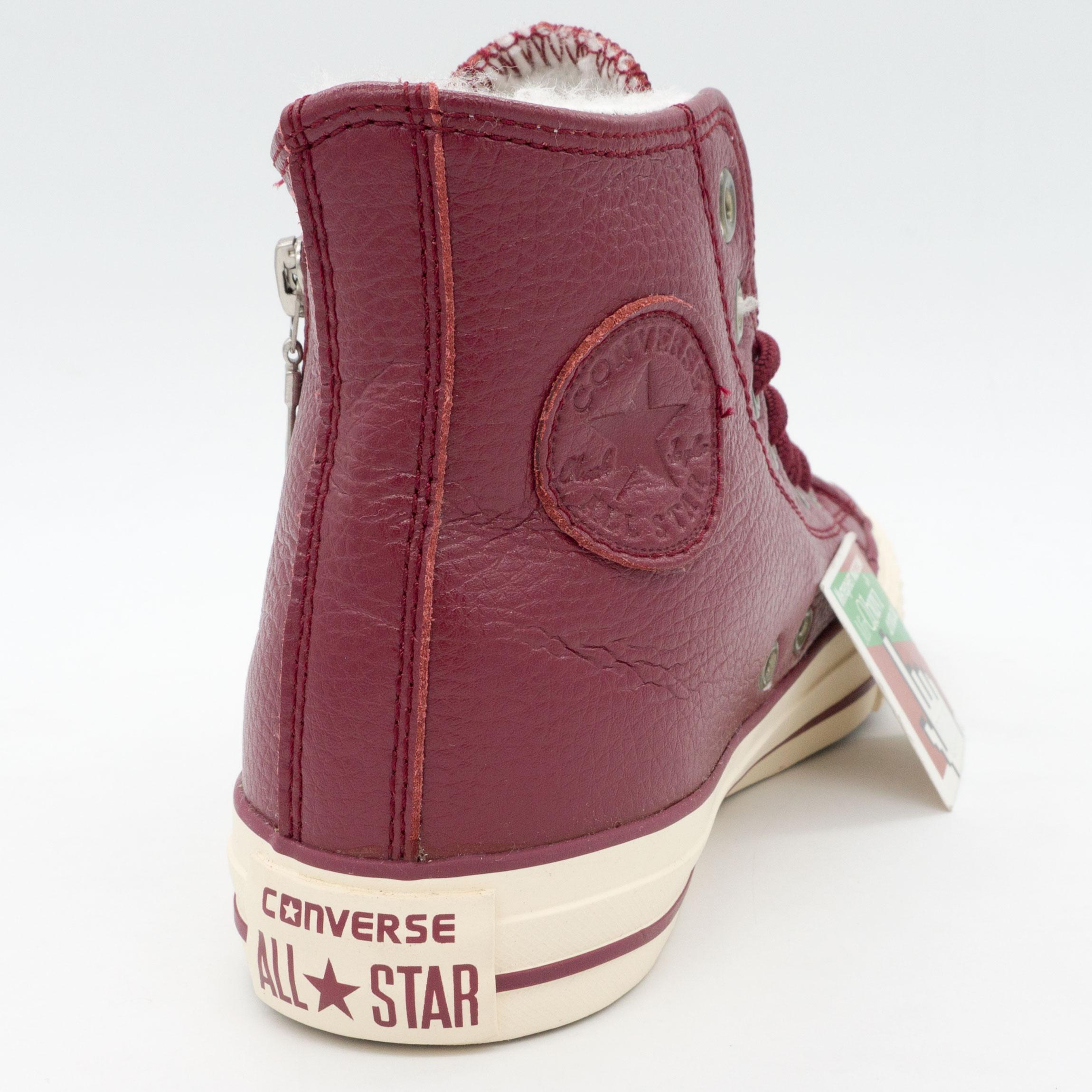 фото front Зимние кеды Converse высокие бордовые - Топ качество! front