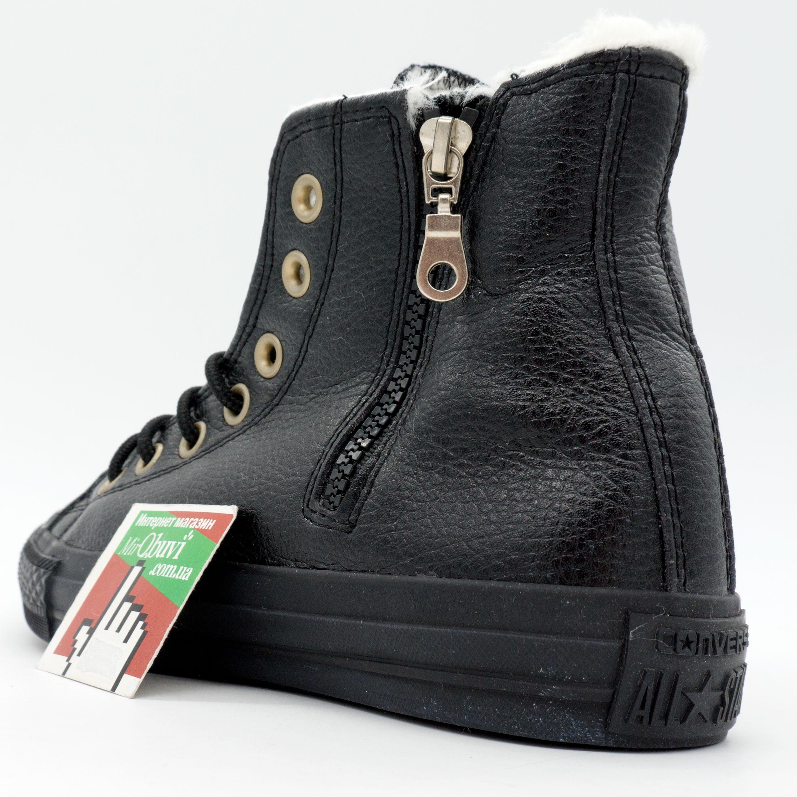 фото back Зимние кеды Converse высокие полностью черные - Топ качество! back