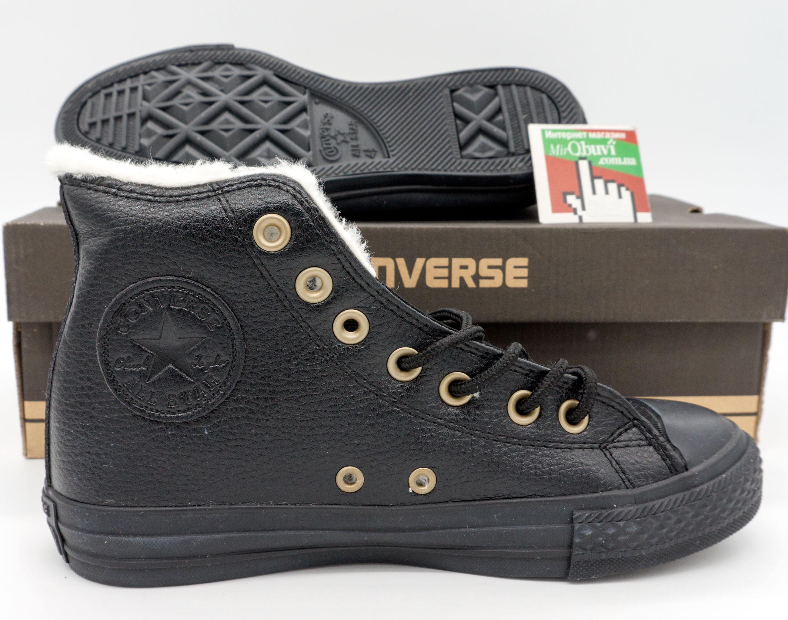 фото bottom Зимние кеды Converse высокие полностью черные - Топ качество! bottom