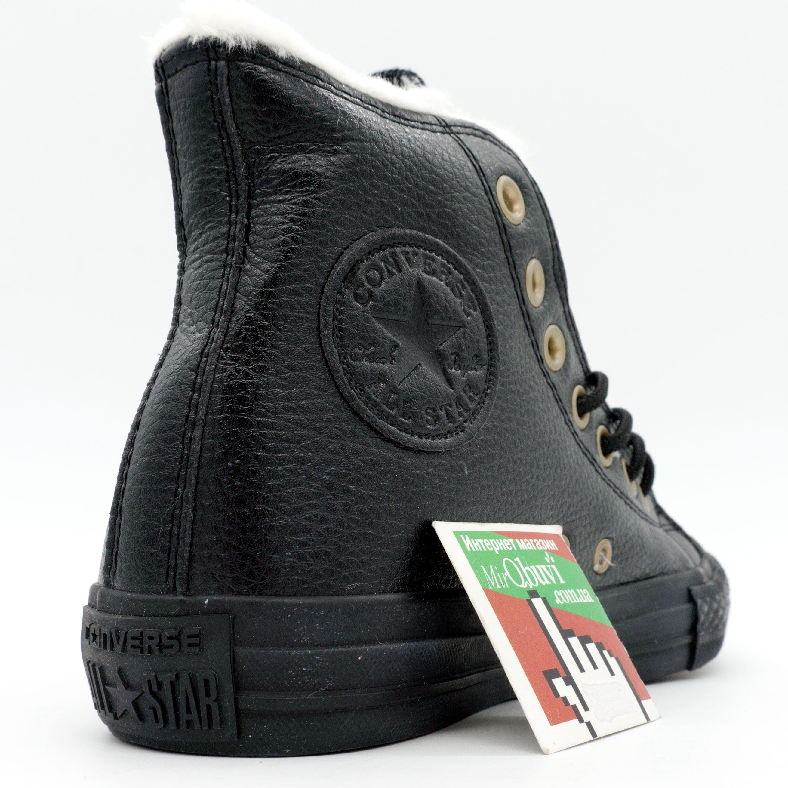 фото front Зимние кеды Converse высокие полностью черные - Топ качество! front