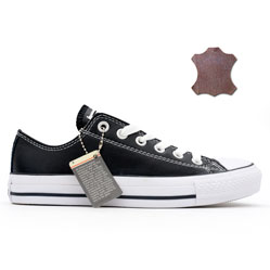 Converse кожаные низкие черные