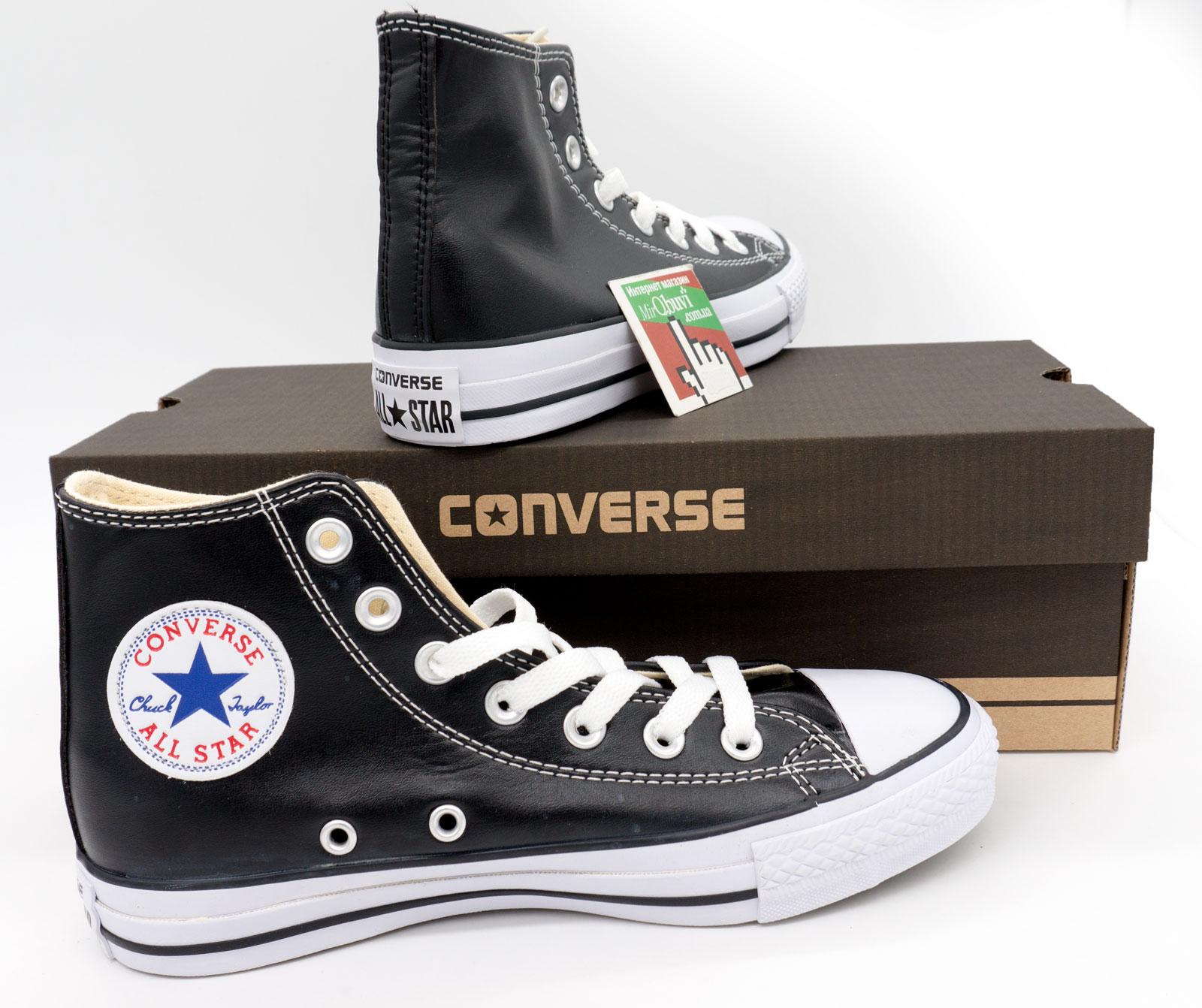 фото bottom Кеды Converse кожаные высокие черные bottom