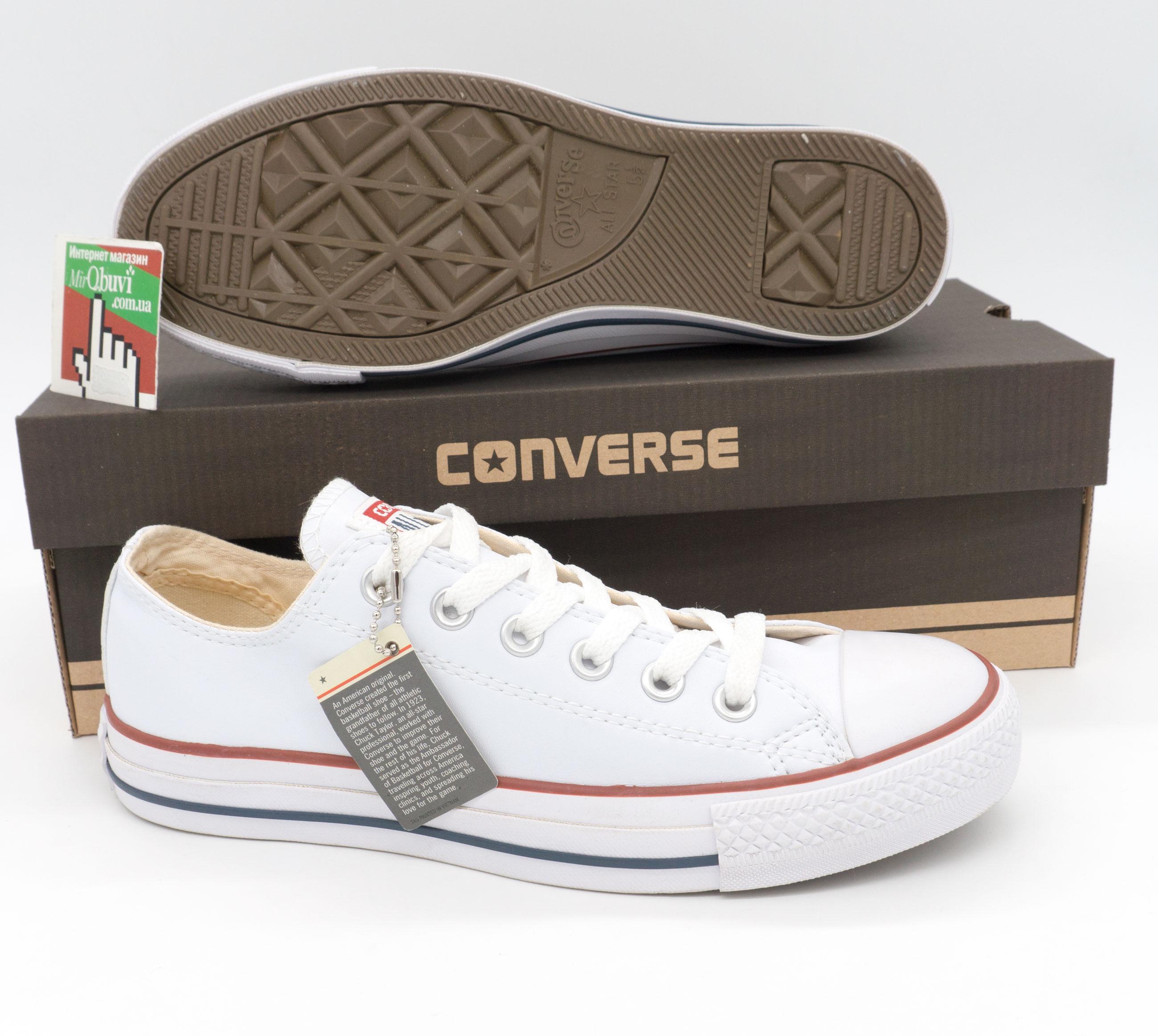 фото bottom Кеды Converse кожаные низкие белые bottom
