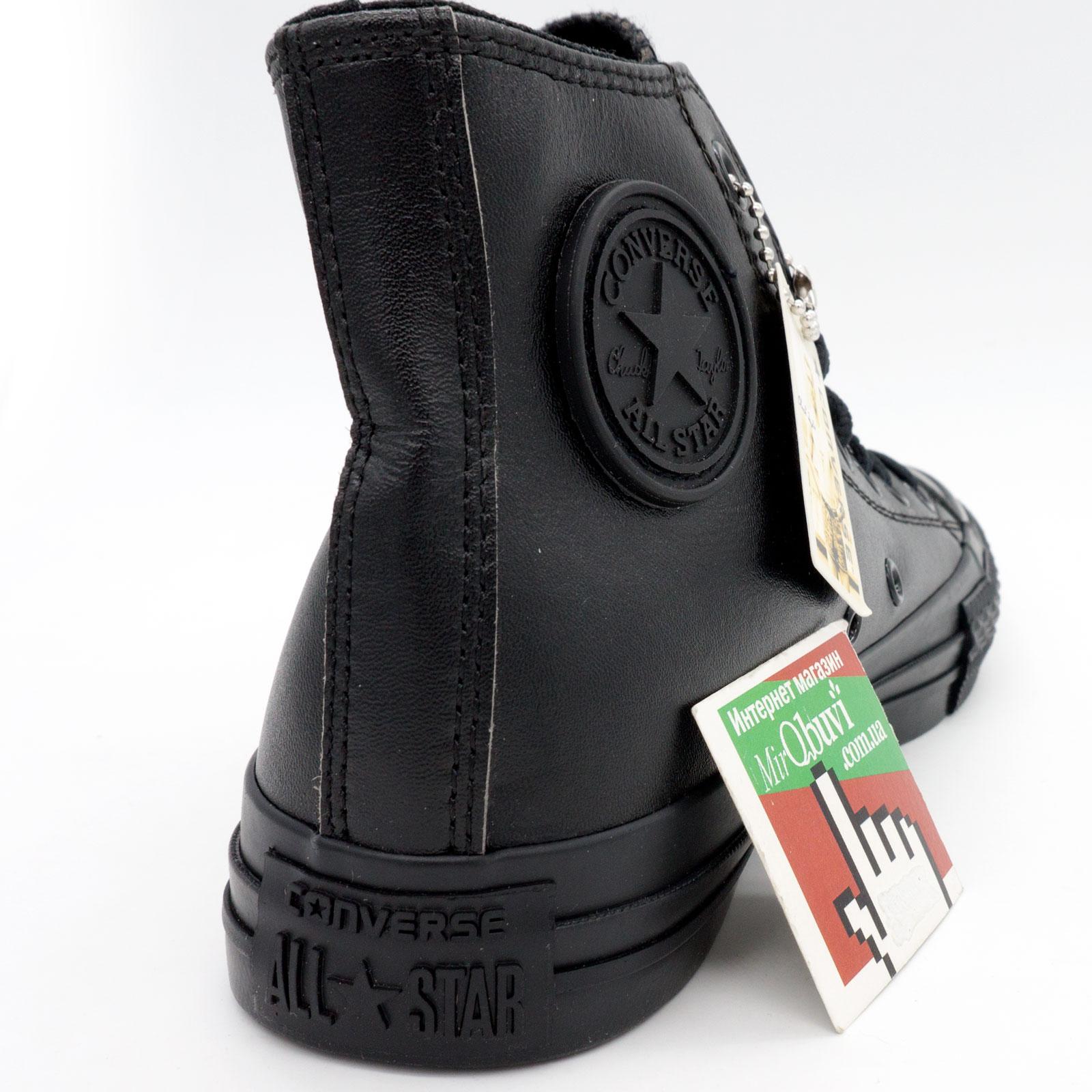 фото back Кеды Converse кожаные высокие полностью черные back