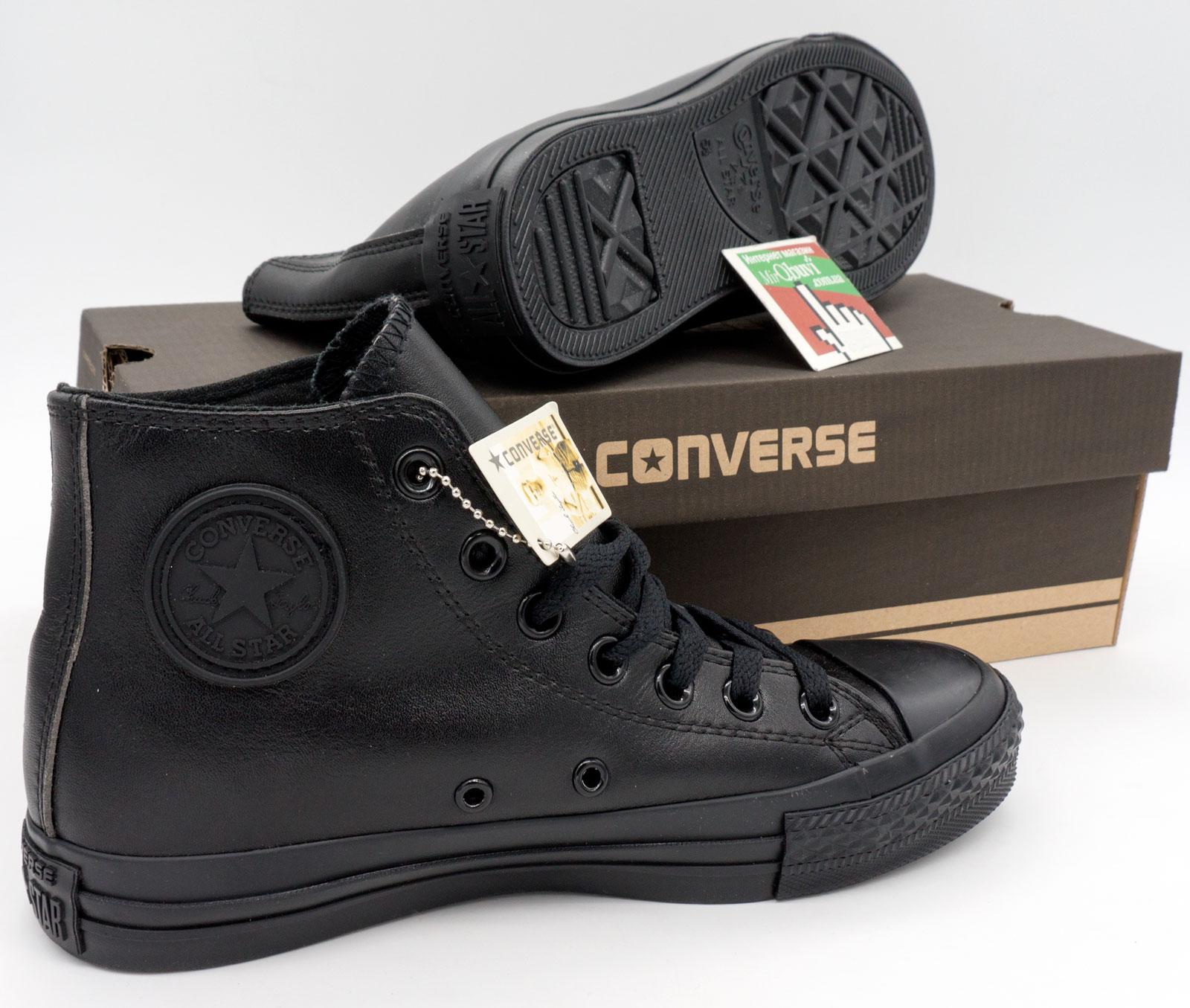 фото bottom Кеды Converse кожаные высокие полностью черные bottom