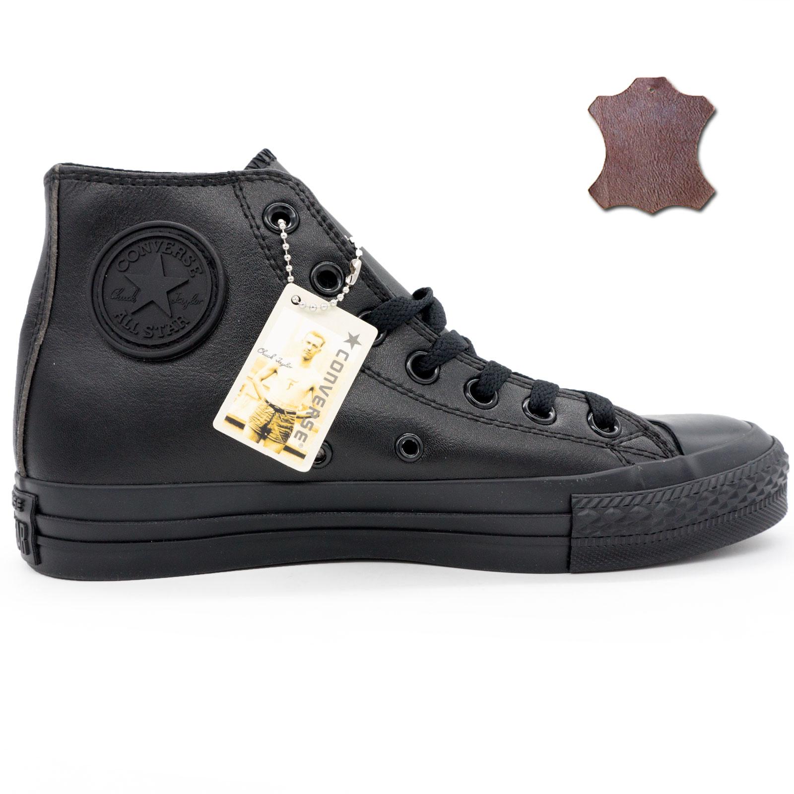фото main Кеды Converse кожаные высокие полностью черные main