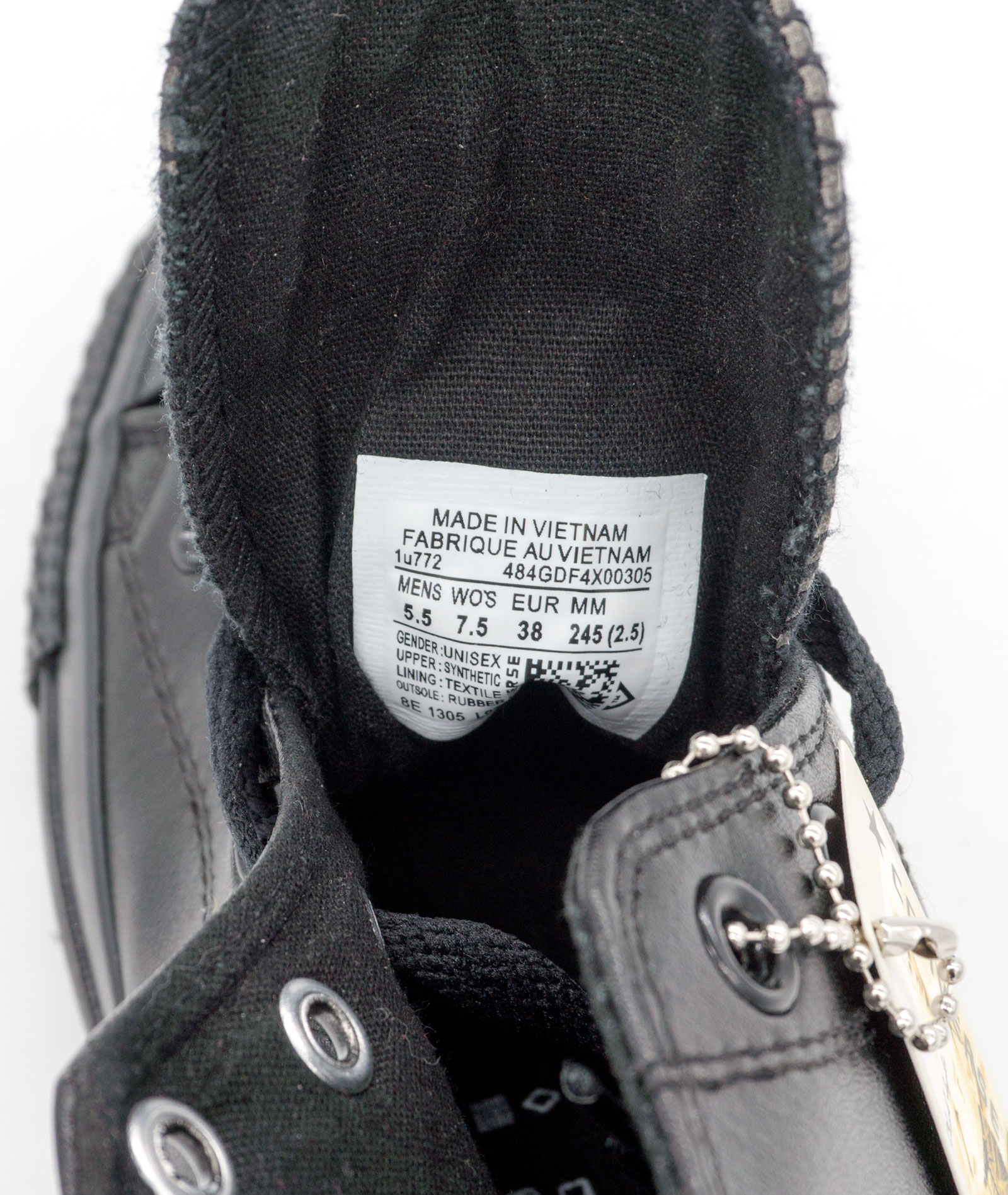 большое фото №6 Кеды Converse кожаные высокие полностью черные