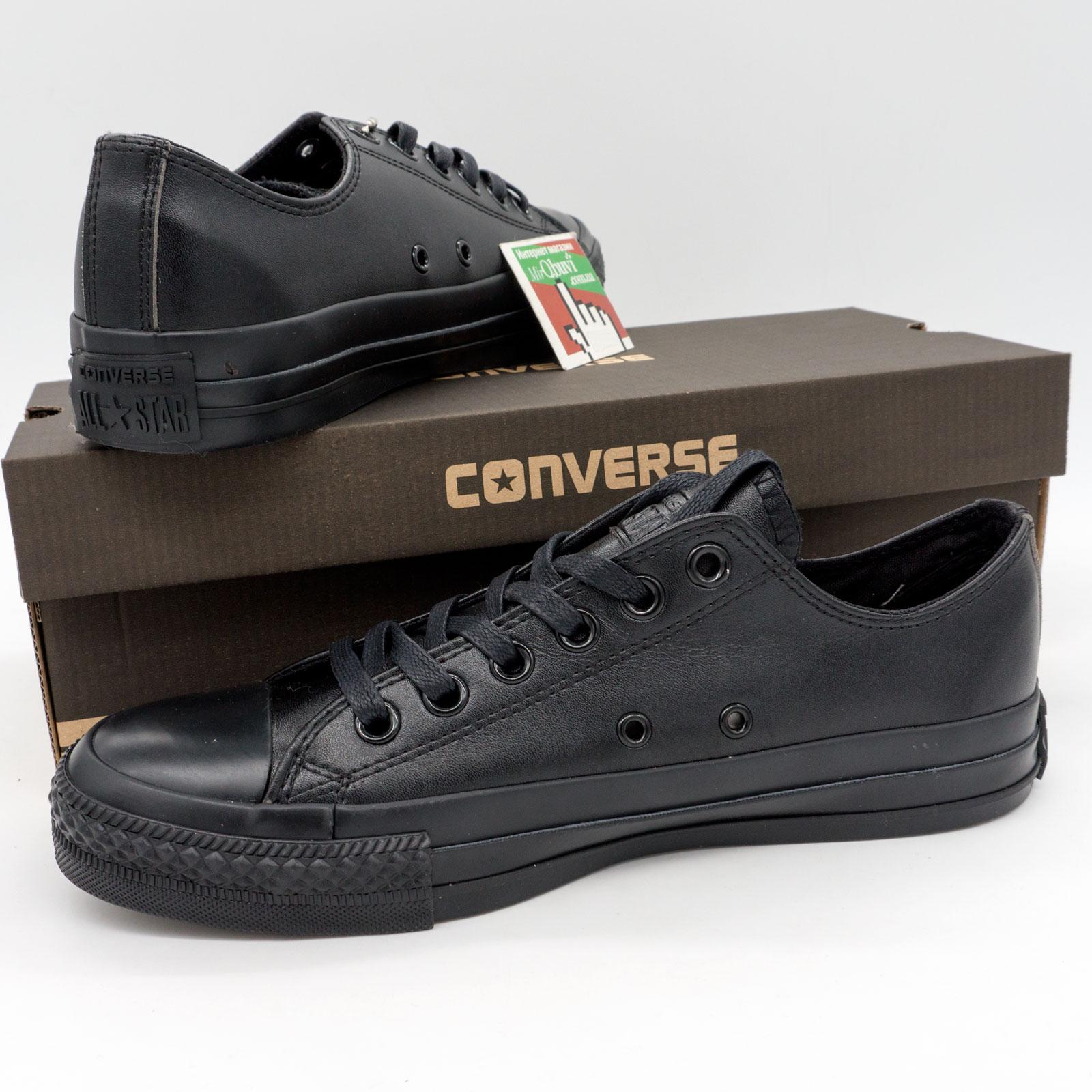 фото bottom Кеды Converse кожаные низкие полностью черные bottom