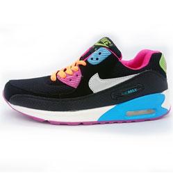 Женские кроссовки Nike Air Max 90 черные с розовым
