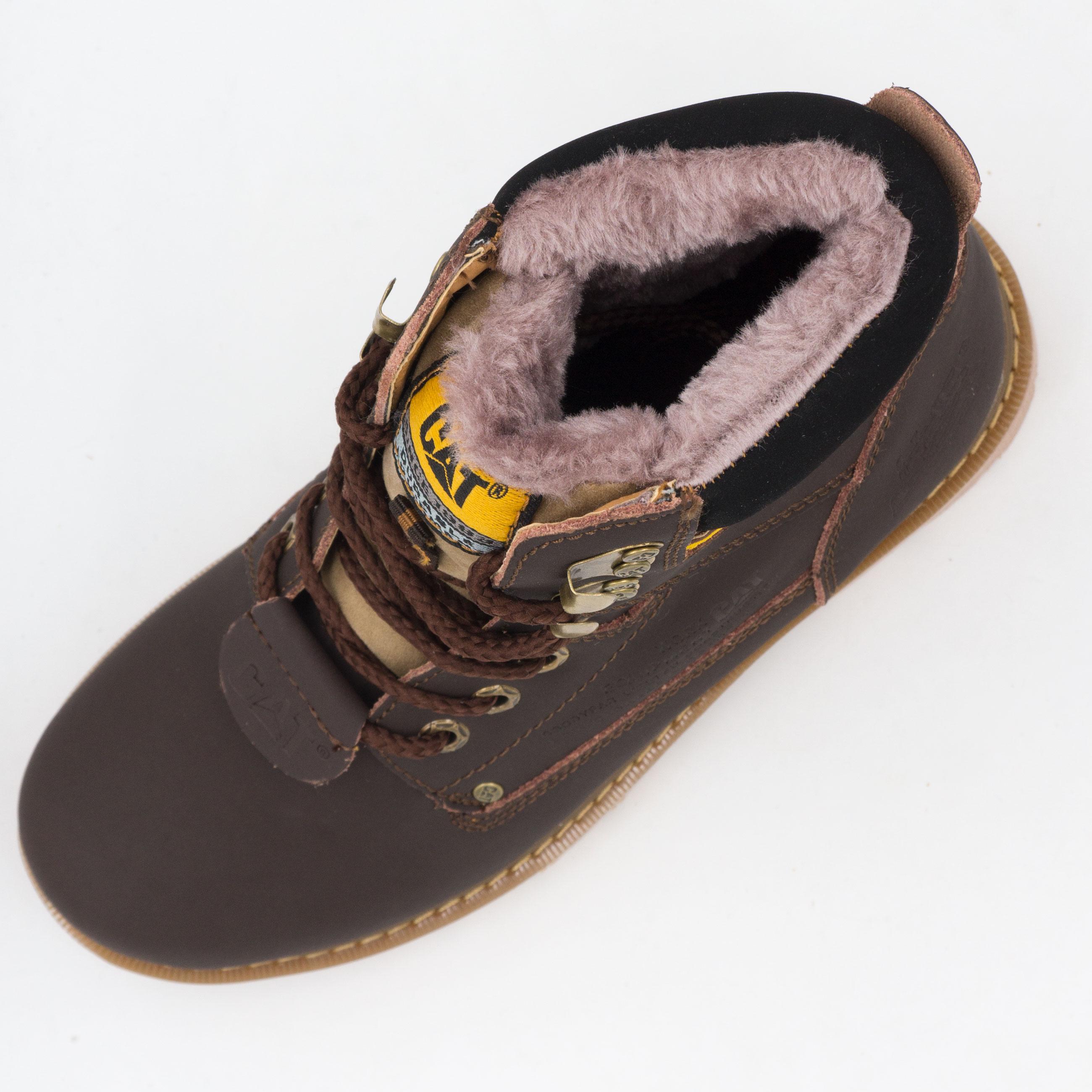 фото back Коричневые зимние женские ботинки CAT (катерпиллер) с мехом back