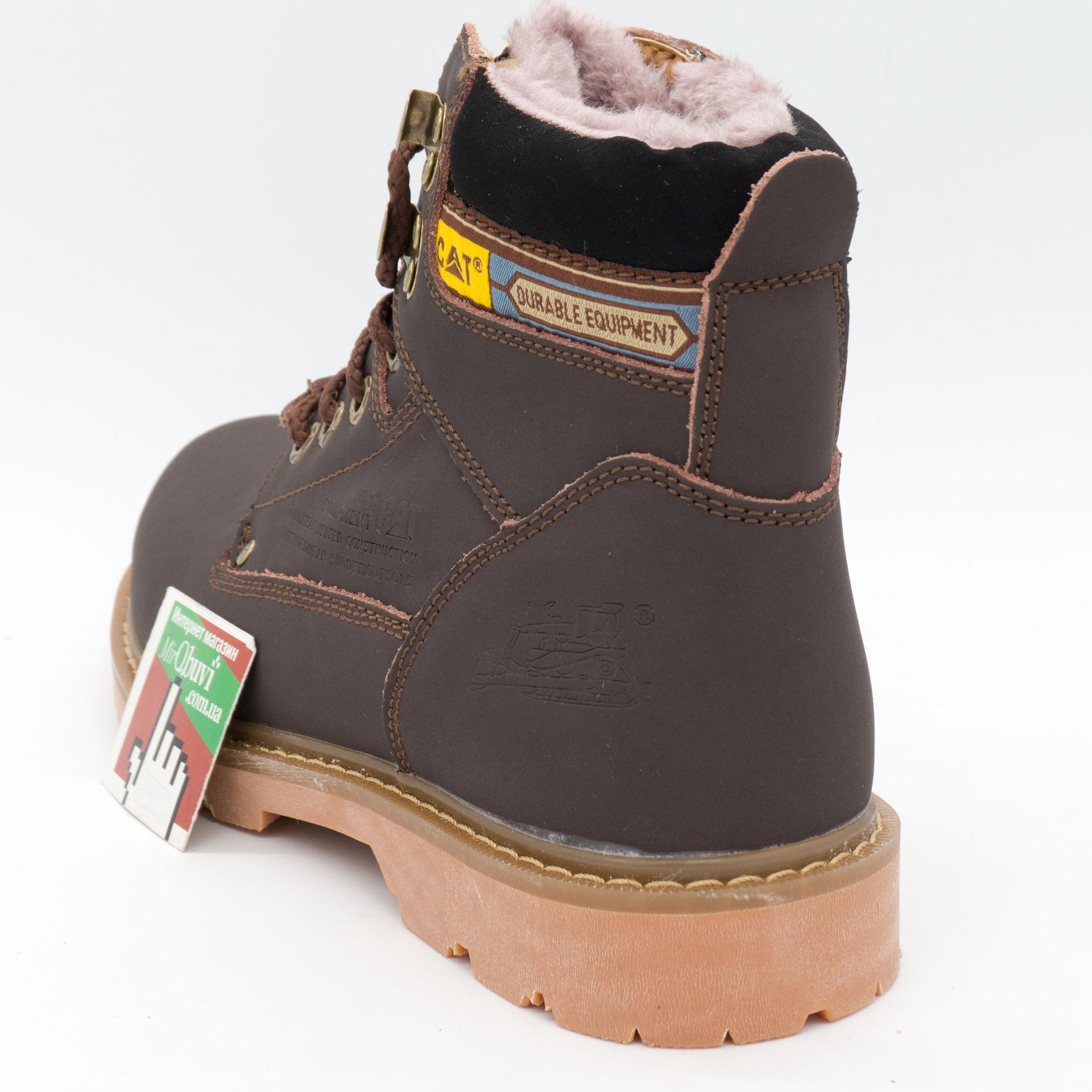 фото front Коричневые зимние женские ботинки CAT (катерпиллер) с мехом front