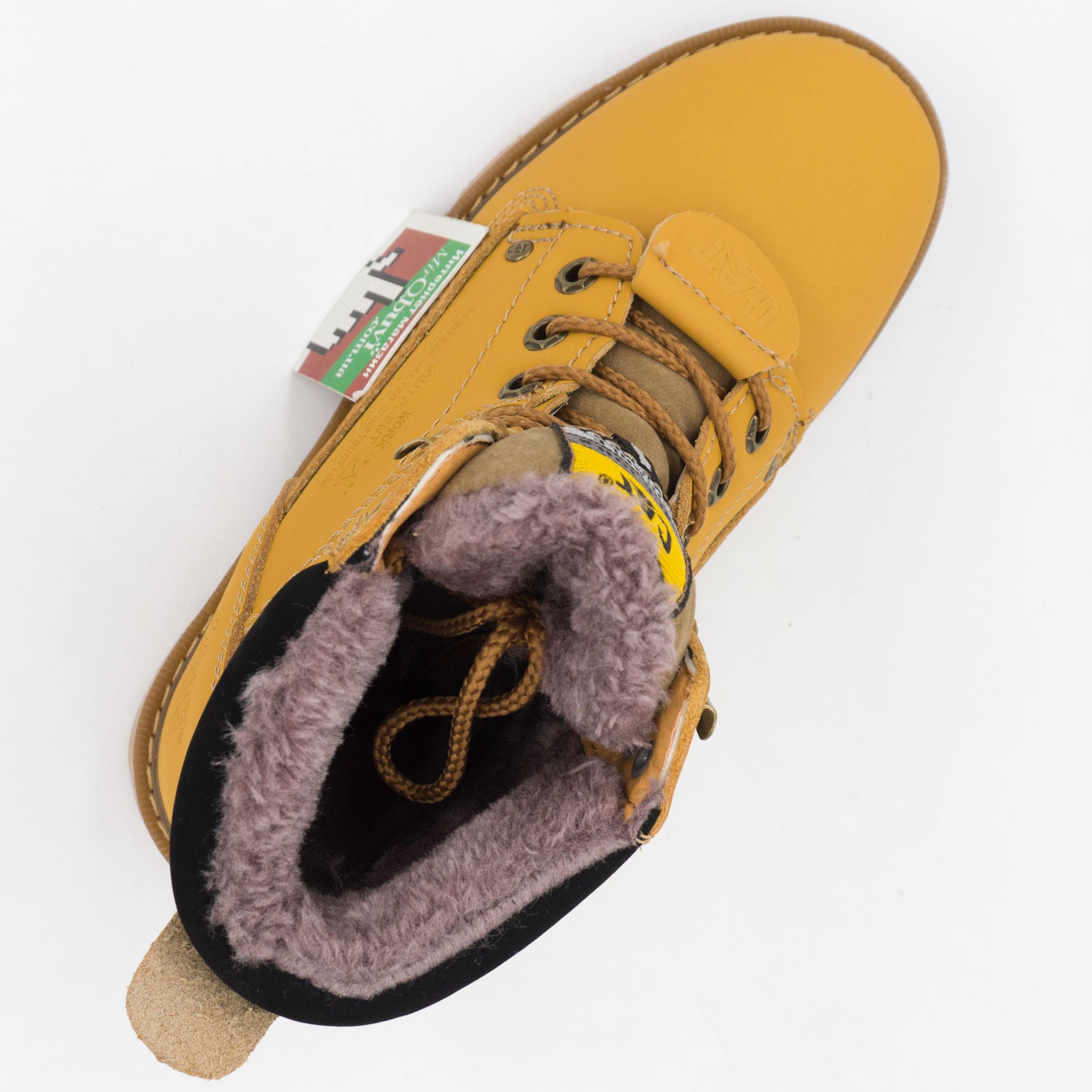 фото back Желтые зимние женские ботинки CAT(катерпиллер) с мехом back