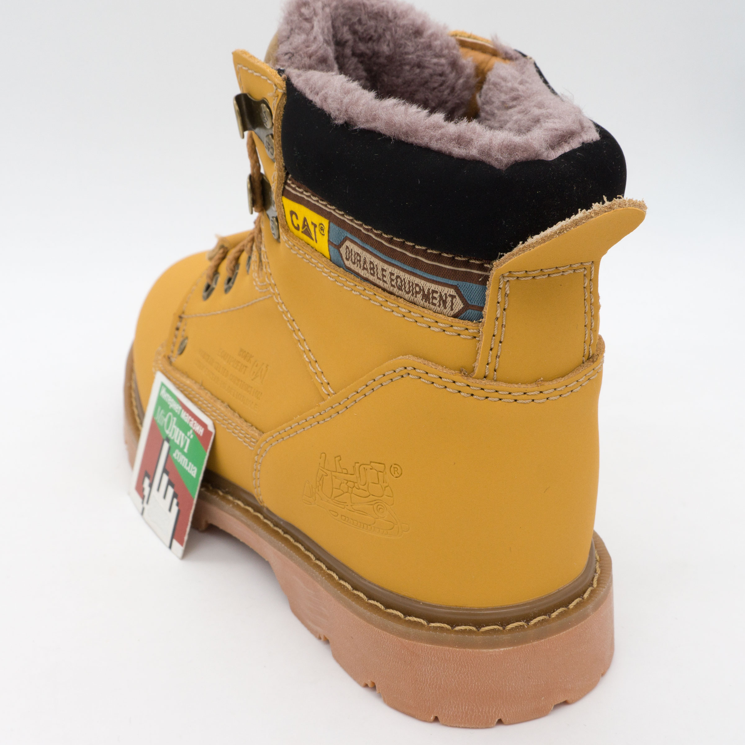 фото front Желтые зимние женские ботинки CAT(катерпиллер) с мехом front