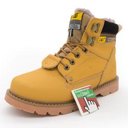 Зимние ботинки CAT с мехом катерпиллер желтые