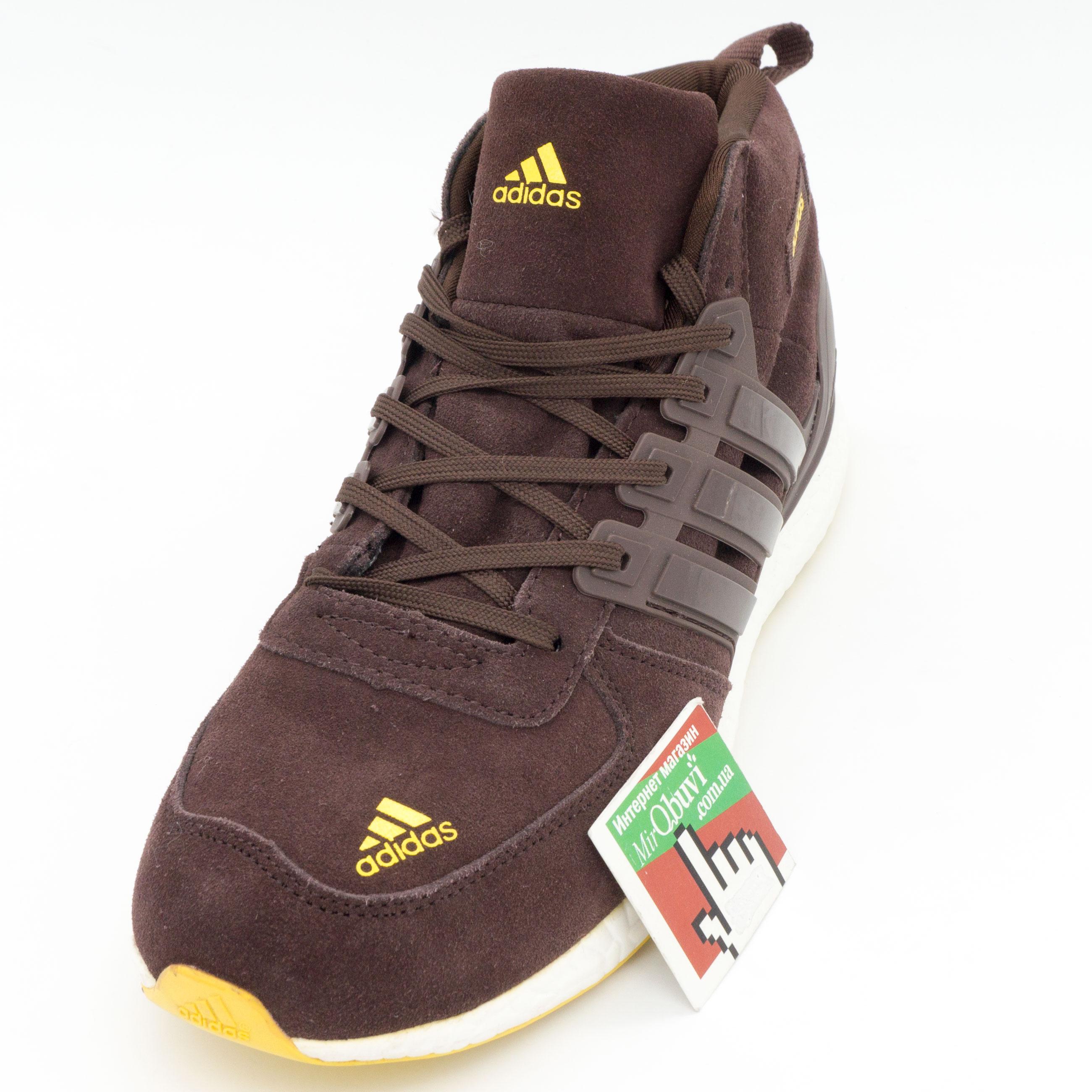 фото front Зимние кроссовки Adidas Ultra Boost коричневые. Топ качество front