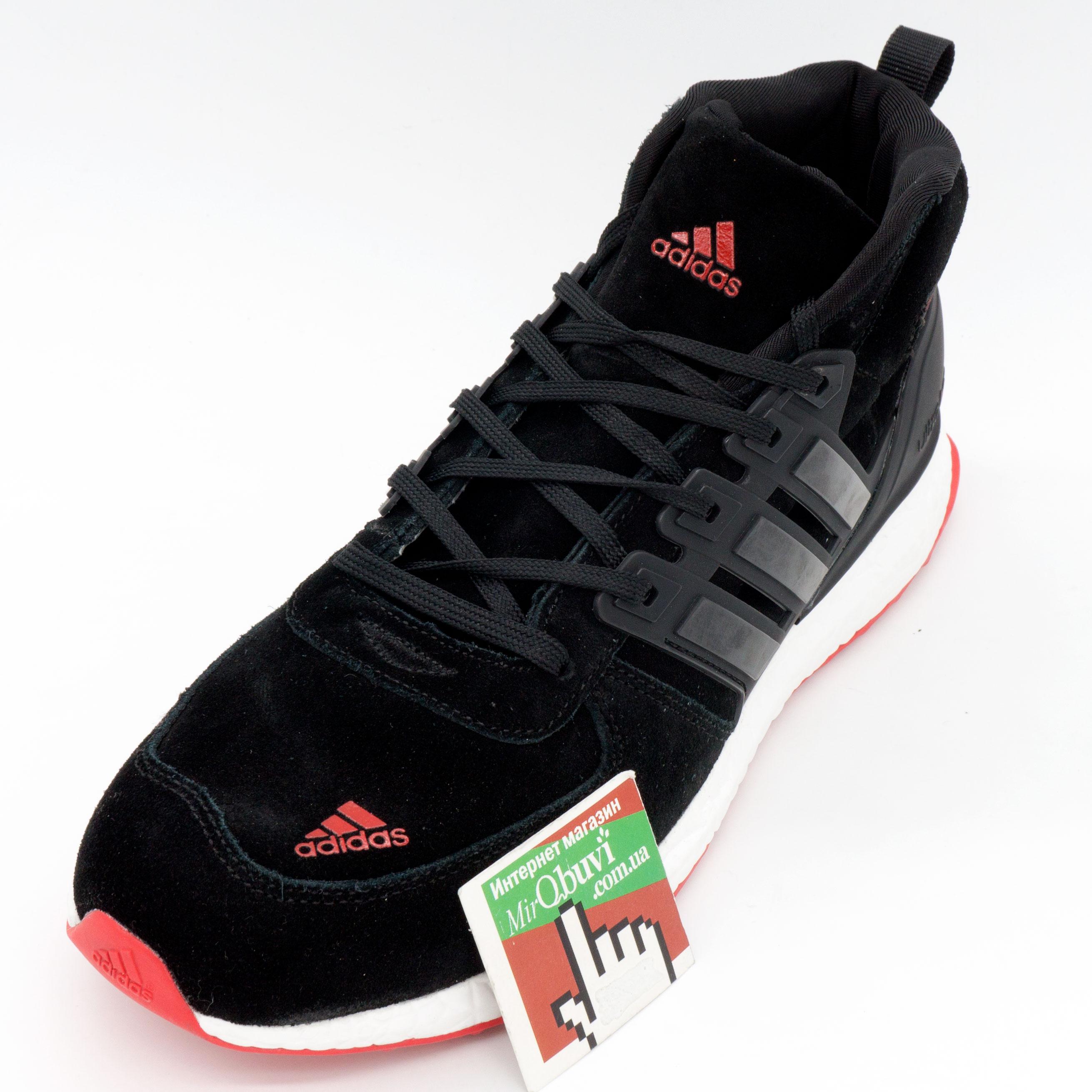 фото front Зимние кроссовки Adidas Ultra Boost черные с красным Топ качество front