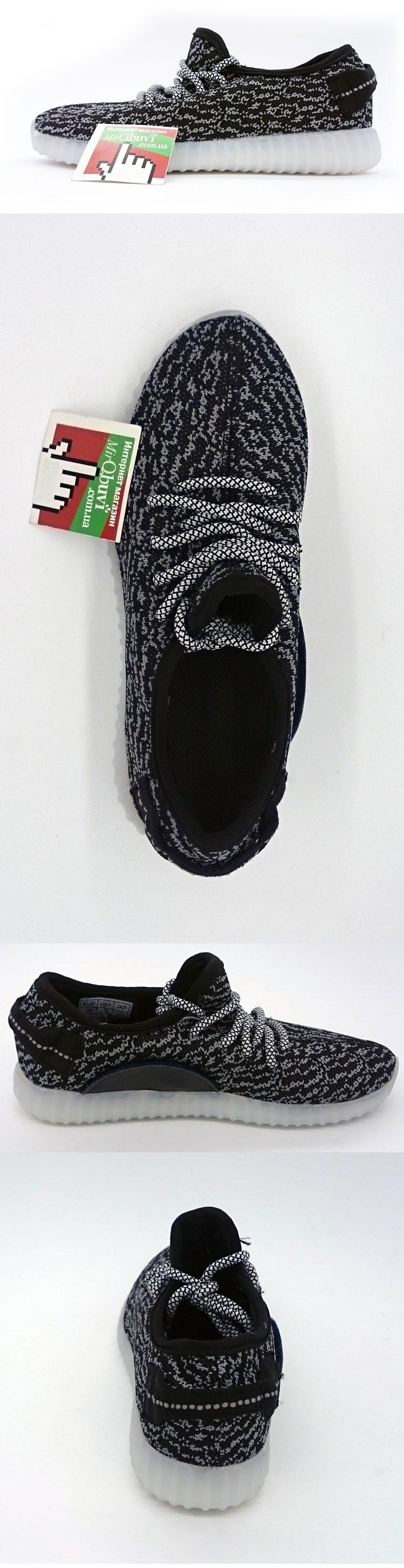 большое фото №5 Светящиеся кроссовки Yeezy черные LED