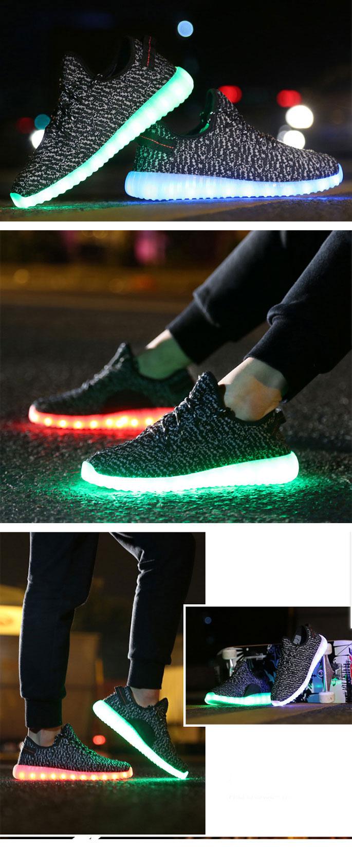 большое фото №6 Светящиеся кроссовки Yeezy черные LED