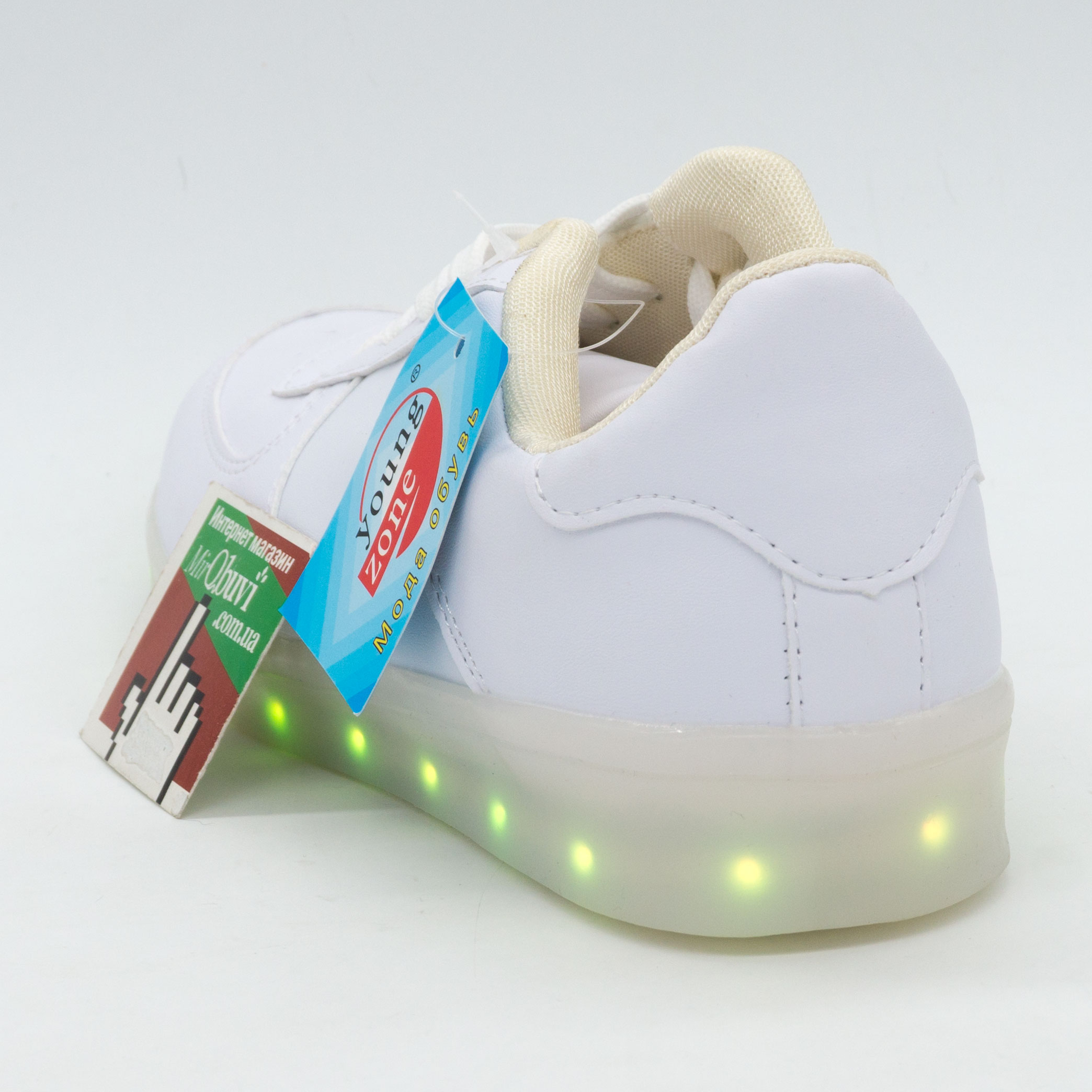 фото bottom Светящиеся кроссовки Led низкие белые bottom