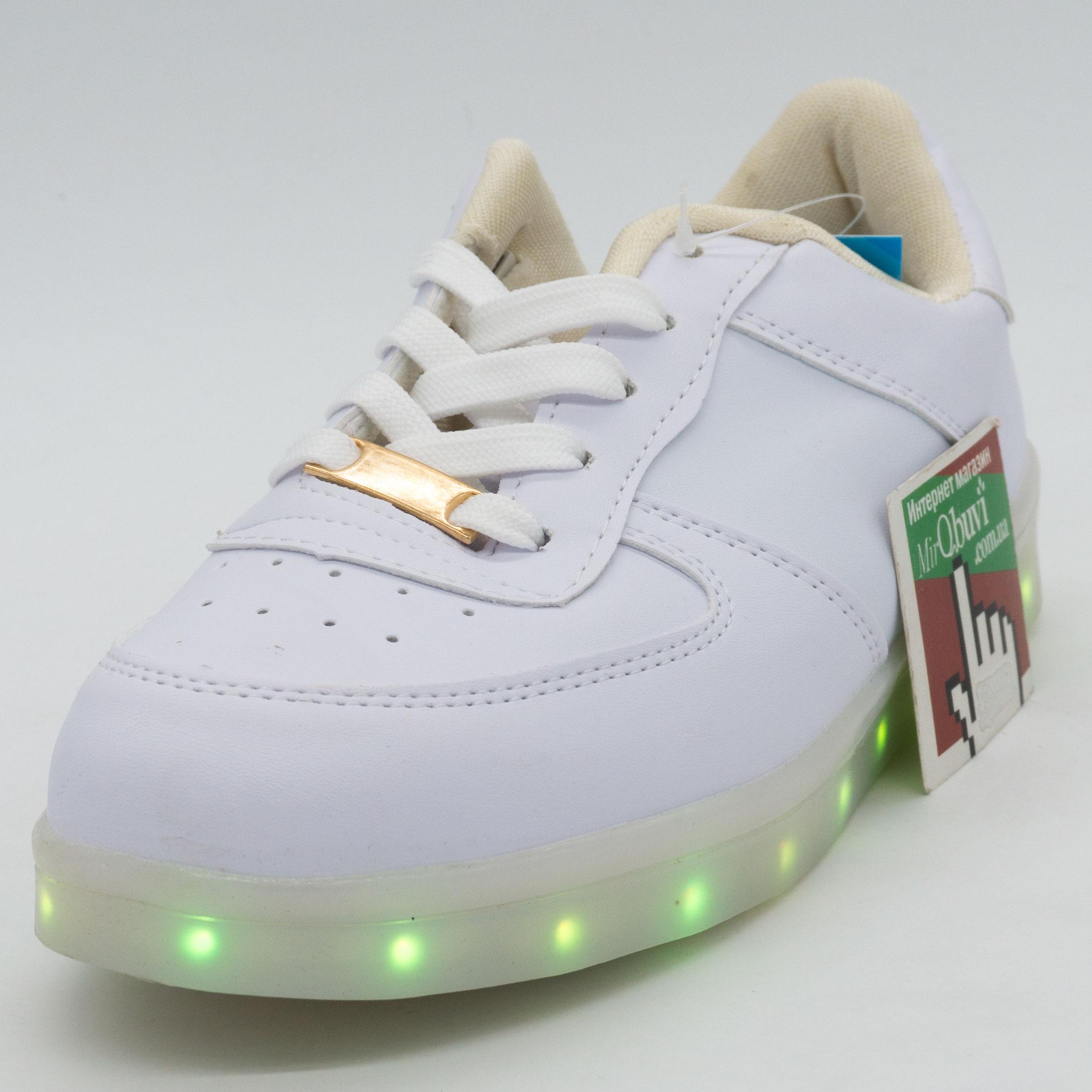 фото front Светящиеся кроссовки Led низкие белые front
