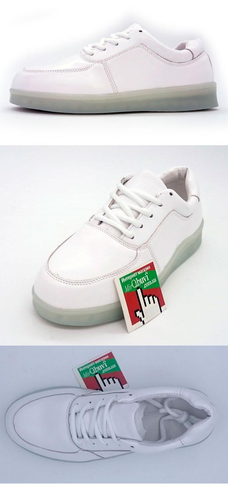 большое фото №6 Светящиеся кроссовки Led низкие белые