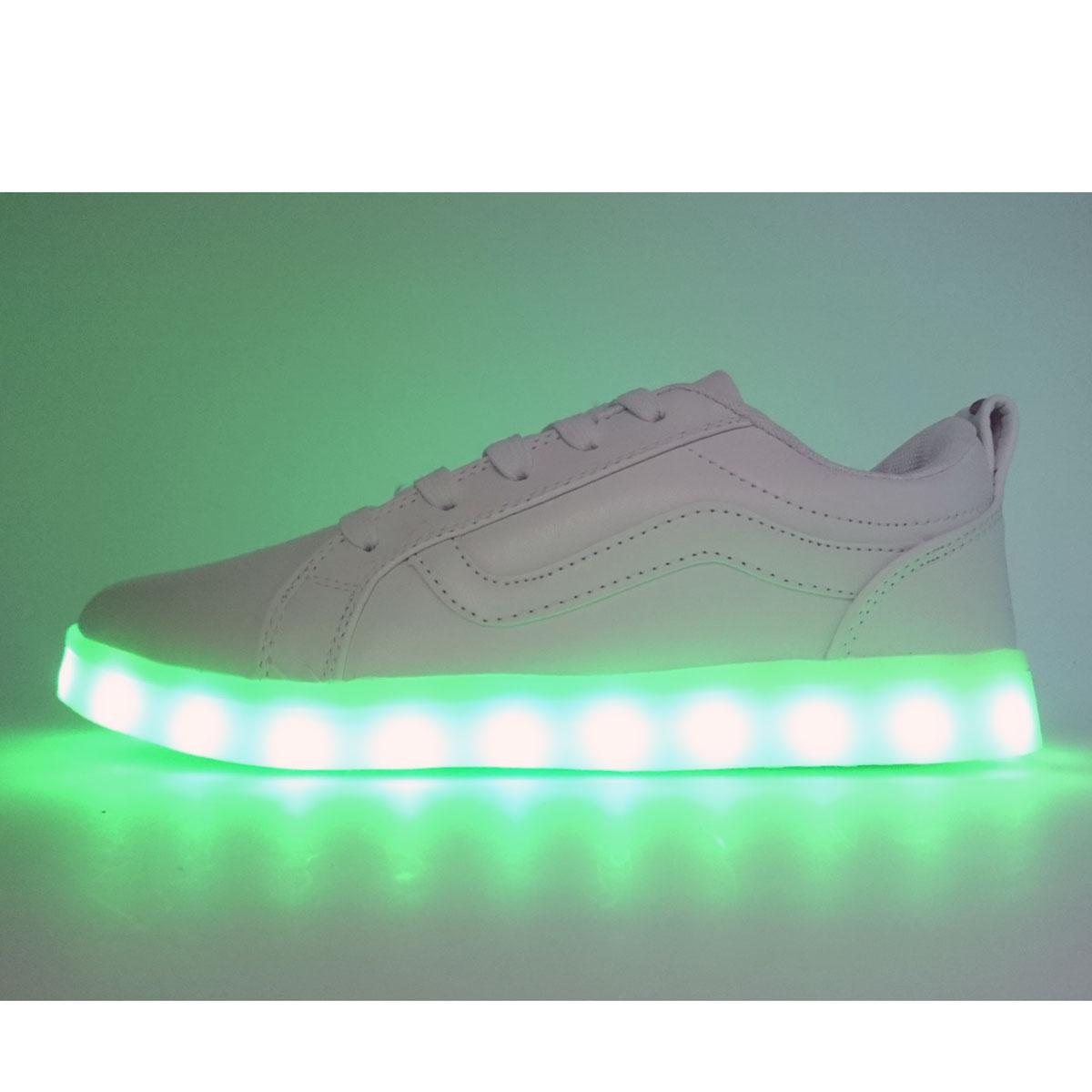 фото main Светящиеся кроссовки LED old skool белые main
