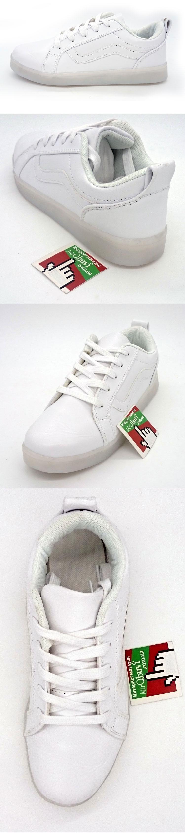 большое фото №5 Светящиеся кроссовки LED old skool белые