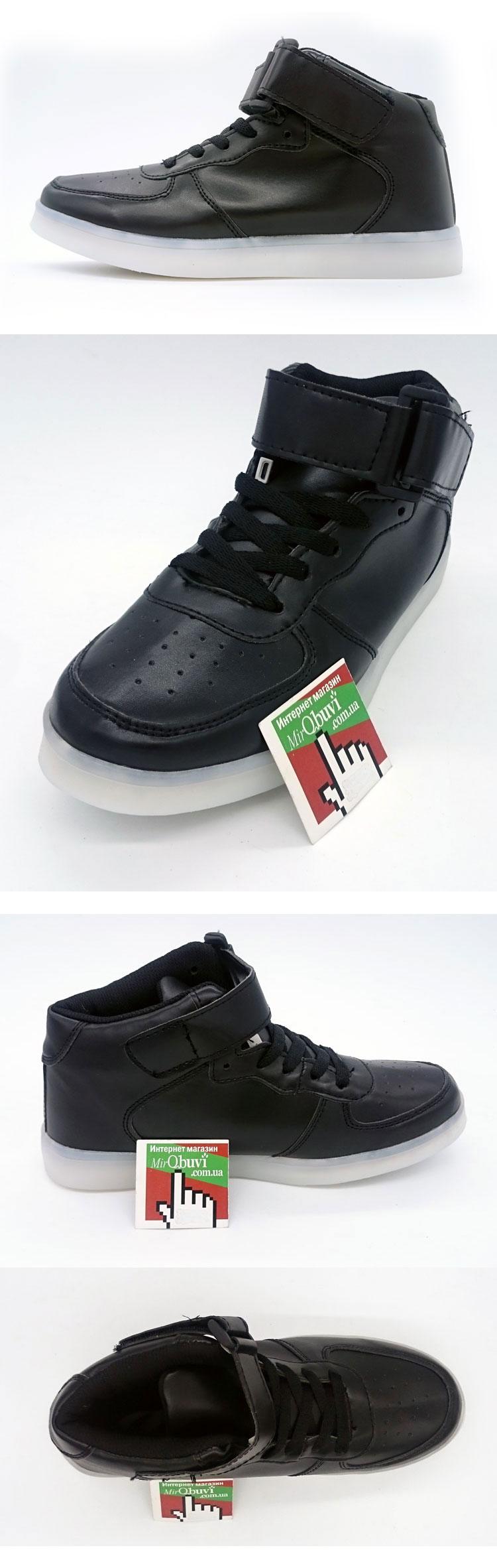 большое фото №5 Светящиеся кроссовки Led черные