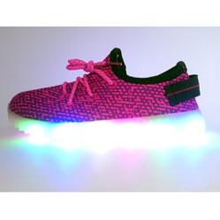 Детские бордовые светящиеся кроссовки с кнопкой на пятке