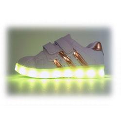 Светящиеся кроссовки LED superstar золотистые детские на липучке