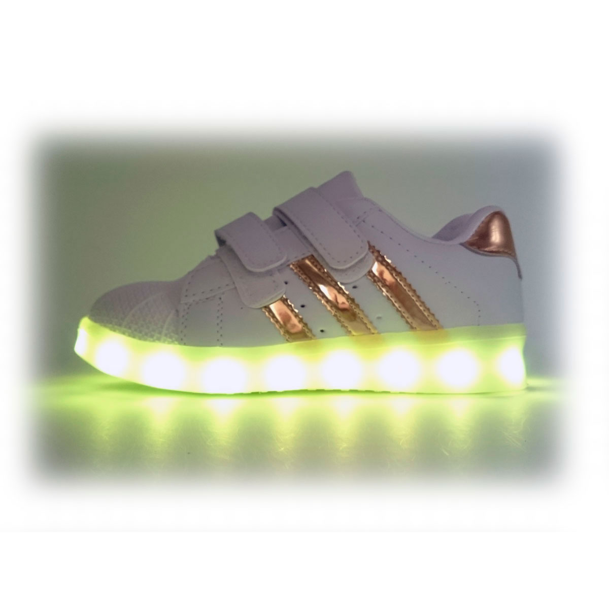 a3d73d611912 ... фото main Светящиеся кроссовки LED superstar золотистые детские на  липучке main