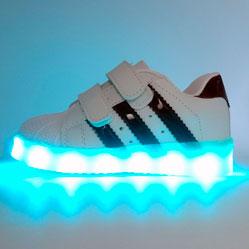 Светящиеся кроссовки LED superstar детские на липучке