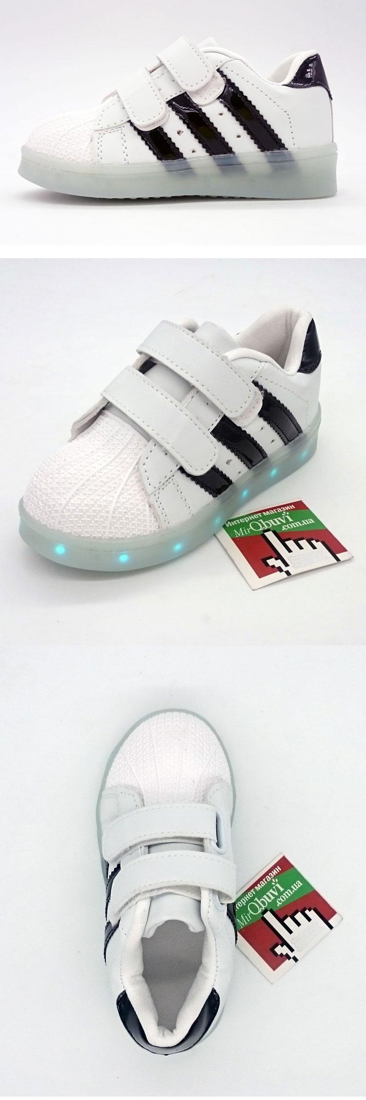 большое фото №5 Светящиеся кроссовки LED superstar детские на липучке
