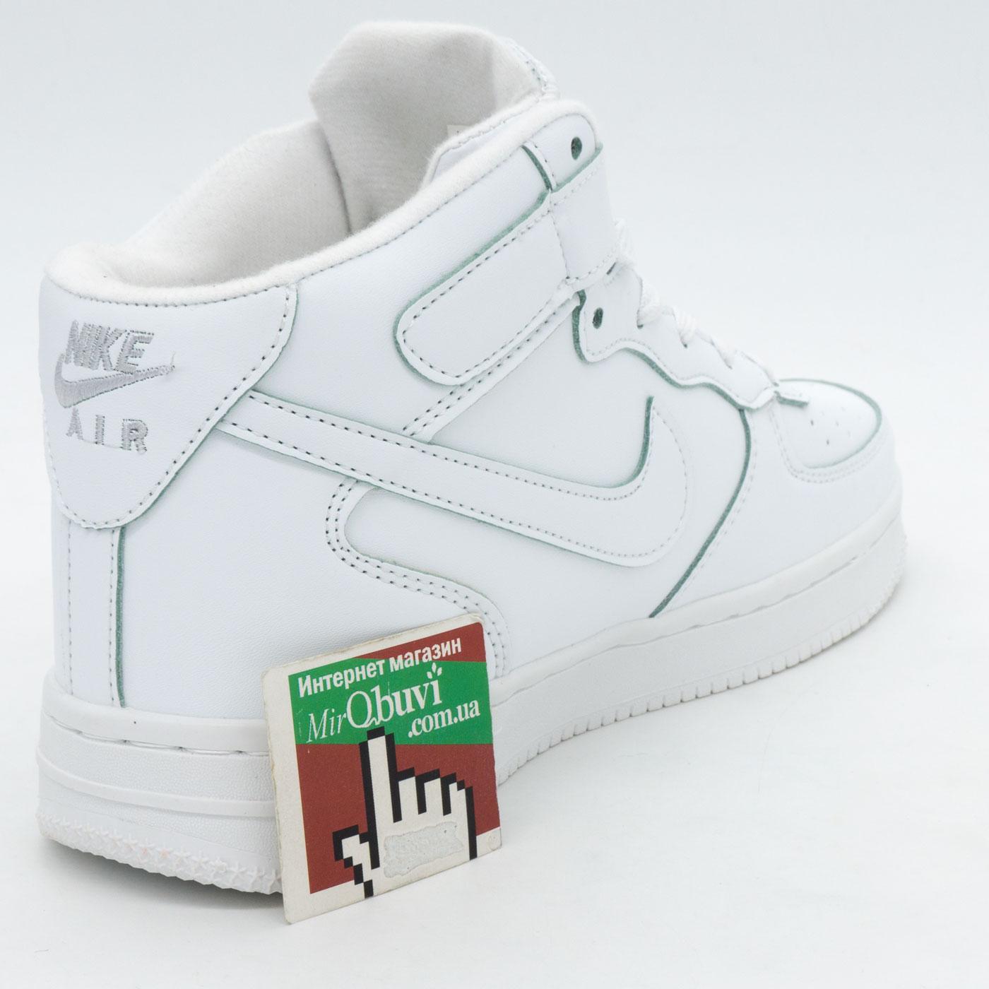 фото back Зимние высокие белые кроссовки Nike Air Force  back
