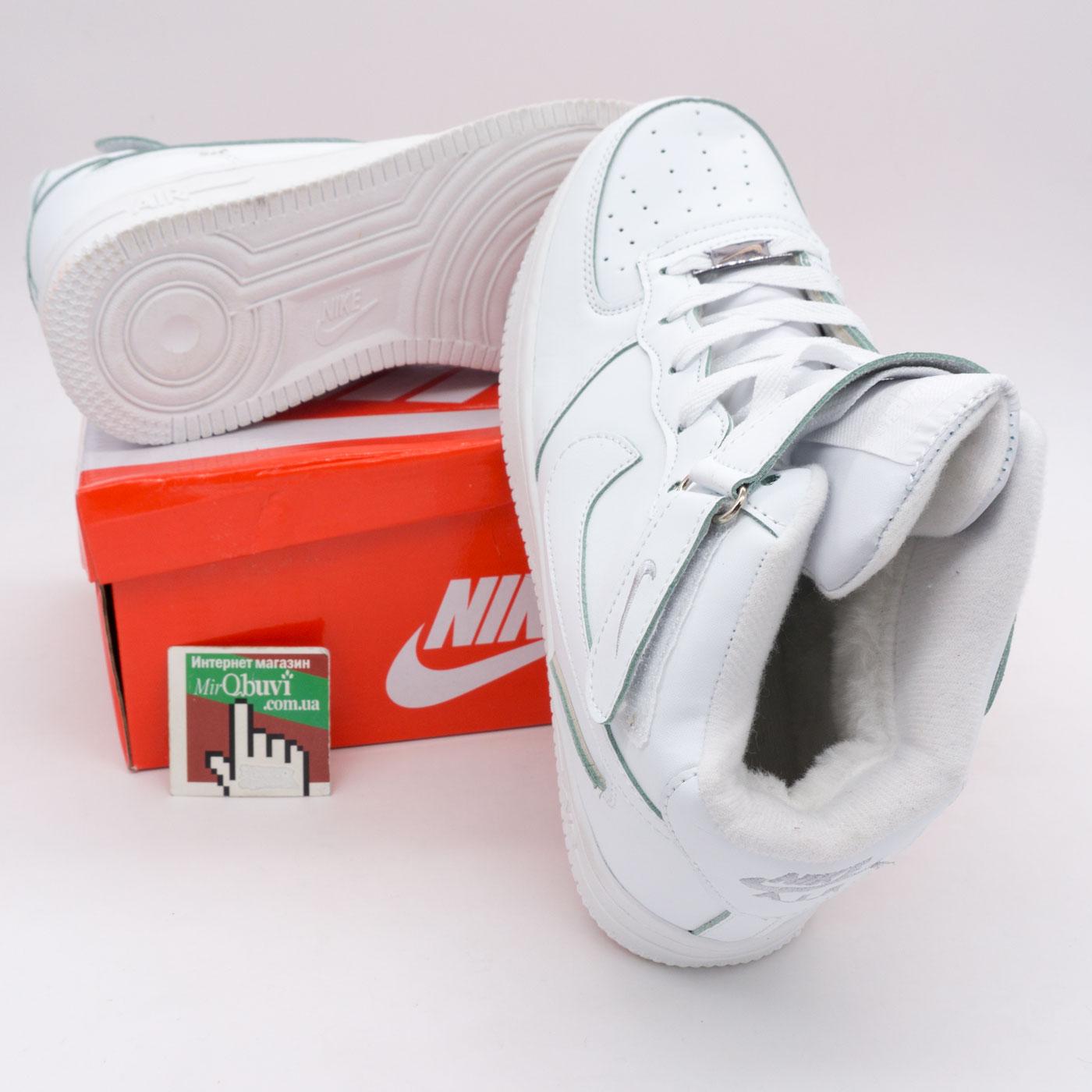 фото bottom Зимние высокие белые кроссовки Nike Air Force  bottom