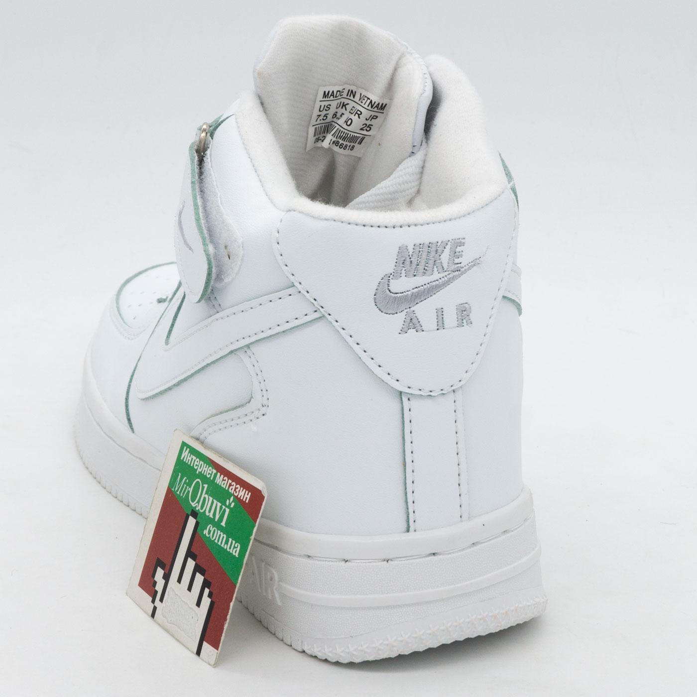 фото front Зимние высокие белые кроссовки Nike Air Force  front
