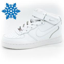 Зимние высокие белые кроссовки Nike Air Force