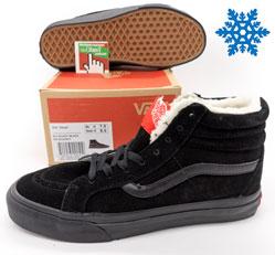 Зимние Vans old skool ванс олд скул полностью черные замша