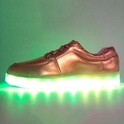 Светящиеся кроссовки Led низкие золотистые
