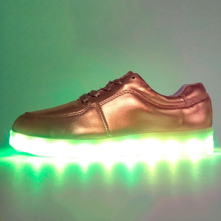 фото main Светящиеся кроссовки Led низкие золотистые main