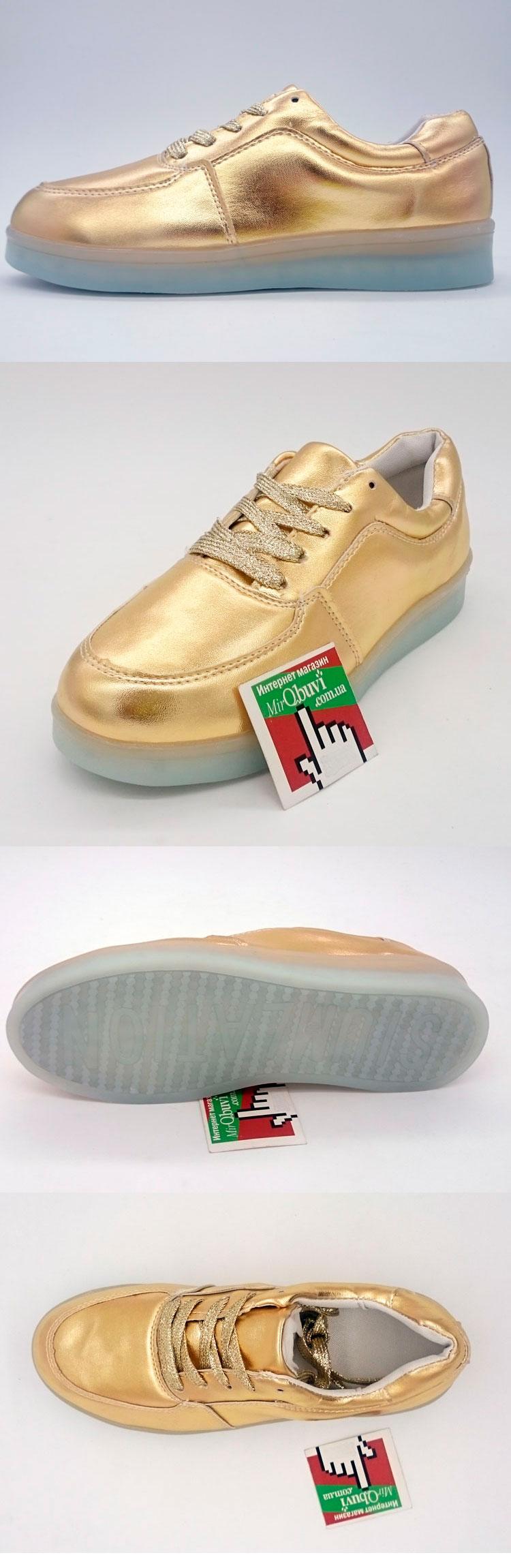 большое фото №5 Светящиеся кроссовки Led низкие золотистые