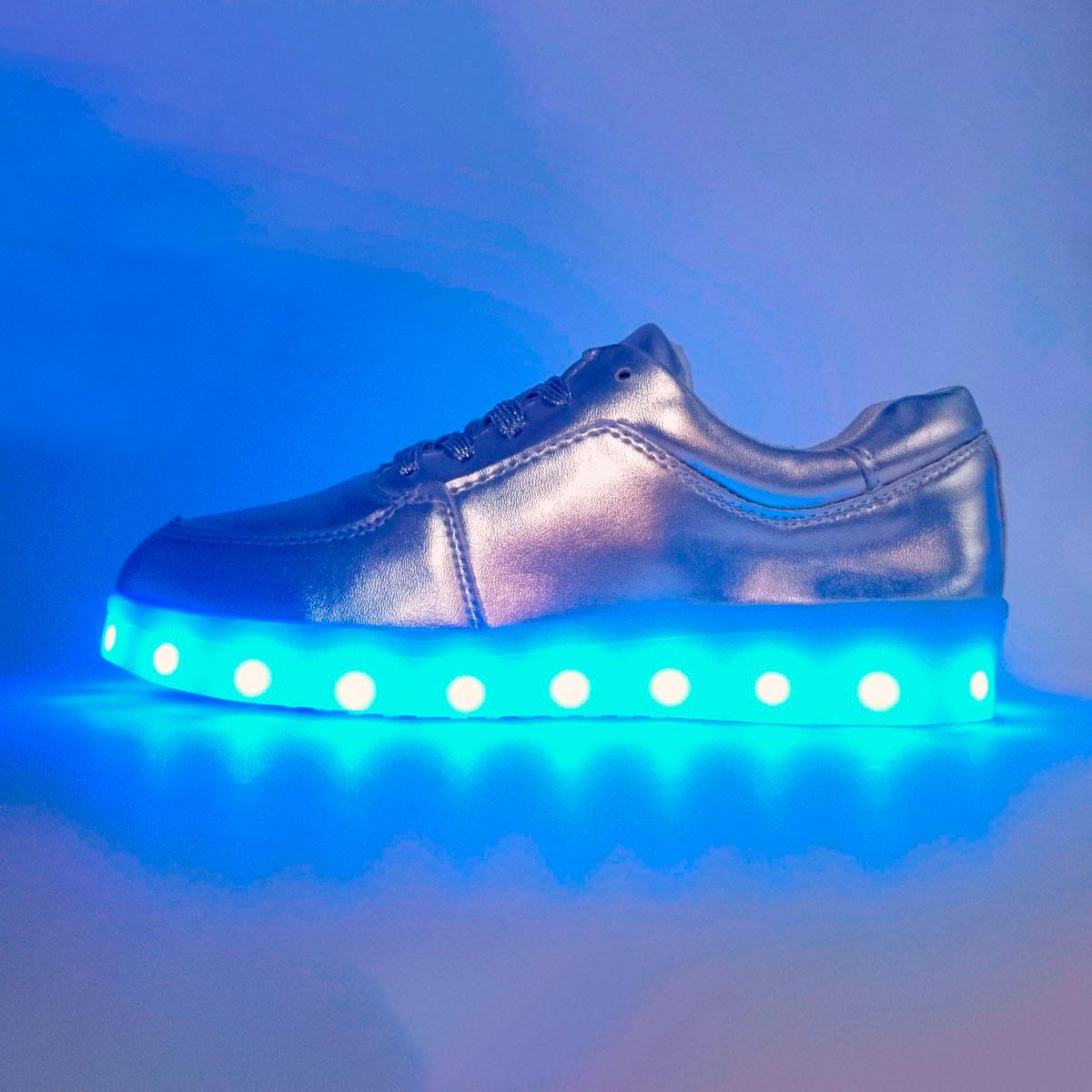 фото main Детские светящиеся кроссовки Led низкие серебристые main