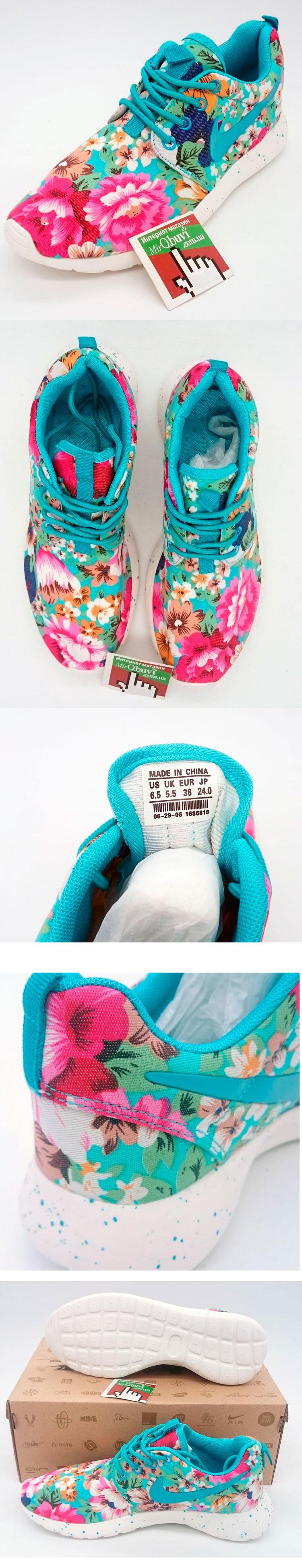 большое фото №5 Nike Roshe Run в цветочек бирюзовый