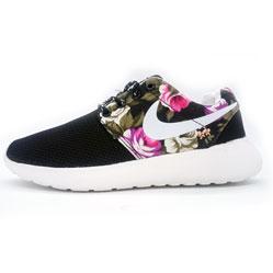 Nike Roshe Run черные в цветочек