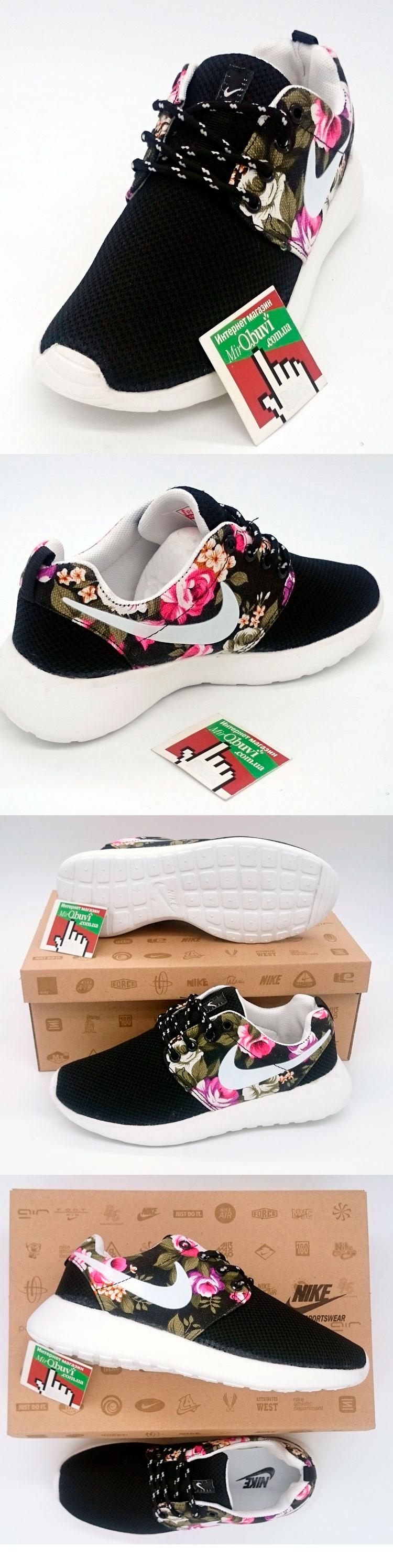 большое фото №5 Женские кроссовки Nike Roshe Run черные в цветочек