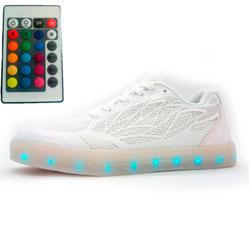 Светящиеся кроссовки Led с пультом низкие белые сетка