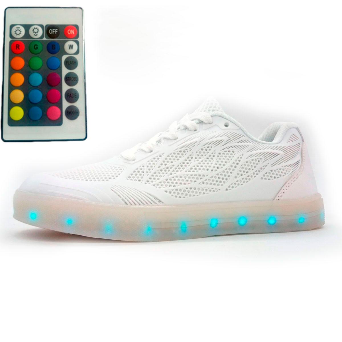 фото main Светящиеся кроссовки Led с пультом низкие белые сетка main