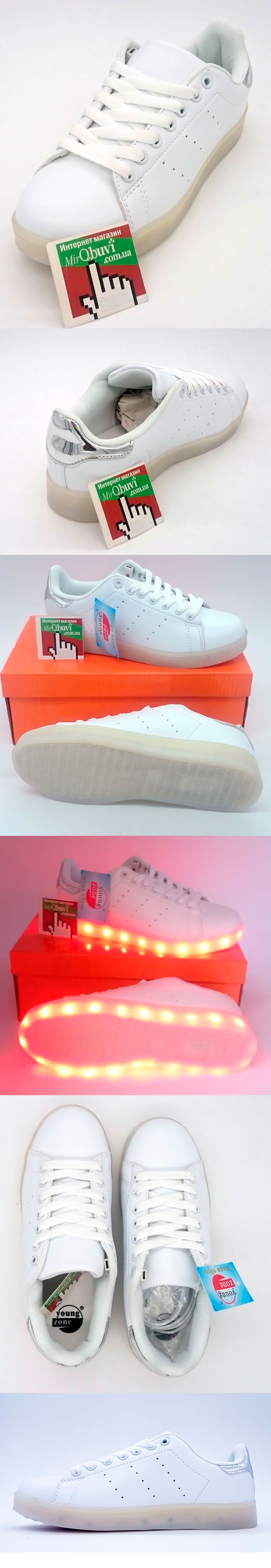 большое фото №5 Светящиеся кроссовки Led низкие белые Stan Smith